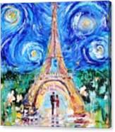 Eiffel Tower Starry Night Romance Canvas Print