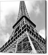 Eiffel Tower Sunlit Corner Perspective Paris France Black And White Canvas Print