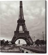 Eiffel Tower With Bridge In Sepia Canvas Print