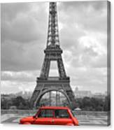 Eiffel Tower With Car. Black And White Photo With Red Element. Canvas Print