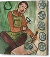 Eight Of Pentacles Illustrated Canvas Print