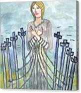 Eight Of Swords Illustrated Canvas Print