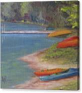 Eighth Lake Canoes Canvas Print