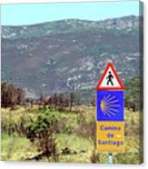 El Camino De Santiago De Compostela, Spain, Sign Canvas Print