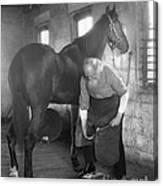 Elderly Blacksmith Shoeing Horse Canvas Print