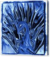Electric Blues Peacock Canvas Print