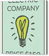 Electric Company Vintage Monopoly Board Game Theme Card Canvas Print