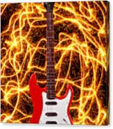 Electric Guitar With Sparks Canvas Print