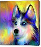 Electric Siberian Husky Dog Painting Canvas Print