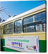 Electric Trolley Took Us To The Port In Valparaiso-chile  Canvas Print