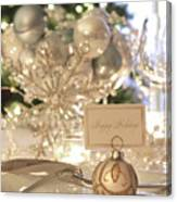 Elegant Holiday Dinner Table With Focus On Place Card Canvas Print