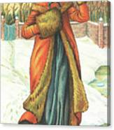Elegant Lady In Snow, Christmas Card Canvas Print