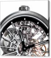 Elegant Watch With Visible Mechanism, Clockwork Close-up. Canvas Print