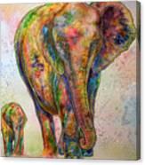 Elephant And Calf Canvas Print