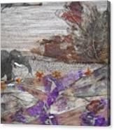 Elephant On Steep Road Canvas Print