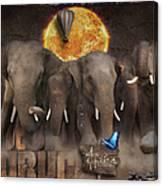 Elephant Run Canvas Print