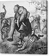 Elephants And Tiger, 1890 Canvas Print