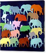 Elephants Going And Coming Canvas Print