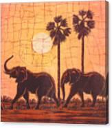 Elephants In Dry Heat Canvas Print