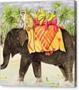 Elephants With Bananas Canvas Print