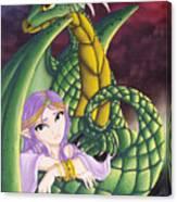 Elf Girl And Dragon Canvas Print