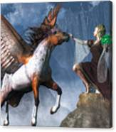 Elf Summoning A Pegasus Canvas Print