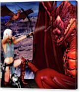 Elf Vs Dragon Canvas Print