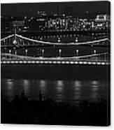 Elizabeth And Liberty Bridges Budapest Bw Canvas Print
