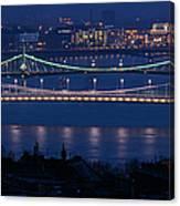 Elizabeth And Liberty Bridges Budapest Canvas Print