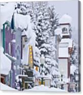 Elk Avenue Snow Canvas Print