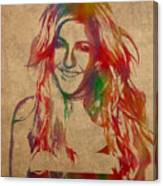 Ellie Goulding Watercolor Portrait Canvas Print
