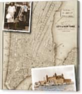 Ellis Island Vintage Map Child Immigrants Canvas Print