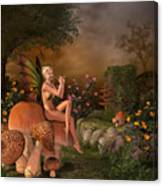 Elven Beautiful Woman With Flute Canvas Print