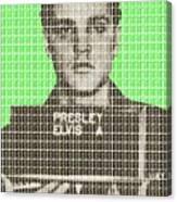 Elvis Army Mug Shot - Green Canvas Print