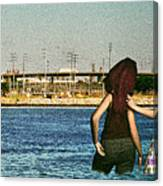 Knee Deep Looking At The Port Canvas Print