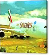 Emirates A380 Airbus Pop Art Canvas Print