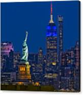 Empire State And Statue Of Liberty II Canvas Print