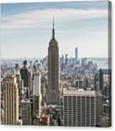 Empire State Building And Manhattan Skyline, New York City, Usa Canvas Print