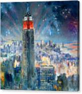 Empire State Building In 4th Of July Canvas Print