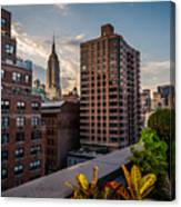 Empire State Building Sunset Rooftop Garden Canvas Print