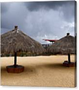 Empty Beach Due To Incoming Storm  Canvas Print