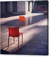 Empty Chairs At Mint Plaza Canvas Print