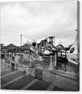 Empty Outdoor Amusement Park On A Cold Wet British Summer Day North Wales Uk Canvas Print