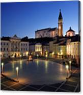 Empty Tartini Square In Piran Slovenia With Courthouse, City Hal Canvas Print