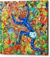 Encaustic  Man  Jumping Canvas Print
