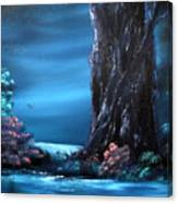 Enchanted Oak By Moonlight Canvas Print