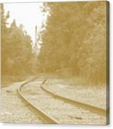 End Of The Rail-sepia Canvas Print