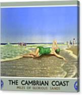 England Cambrian Coast Vintage Travel Poster Canvas Print