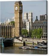 England, London, Big Ben And Thames River Canvas Print
