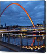England, Tyne And Wear, Gateshead Millennium Bridge. Canvas Print